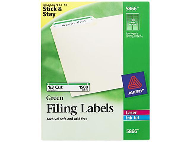 Avery 5866 Self-Adhesive Laser/Inkjet File Folder Labels, Green Border, 1500/Box