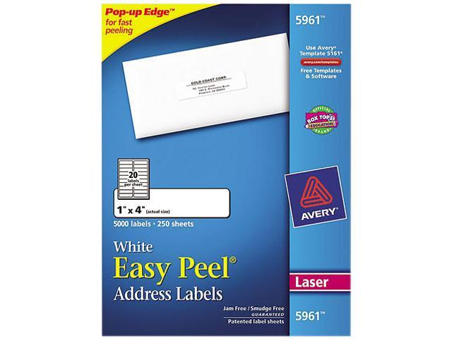 Avery 5961 Easy Peel Laser Address Labels, 1 x 4, White, 5000/Box
