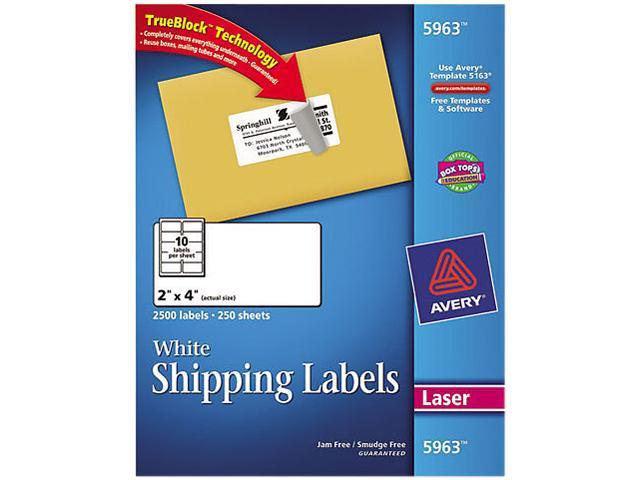 Avery 5963 Shipping Labels with TrueBlock Technology, 2 x 4, White, 2500/Box