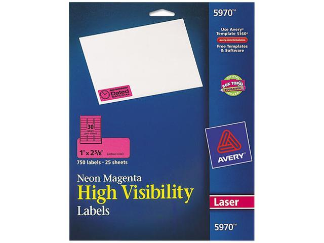 Avery 5970 High-Visibility Laser Labels, 1 x 2-5/8, Neon Magenta, 750/Pack