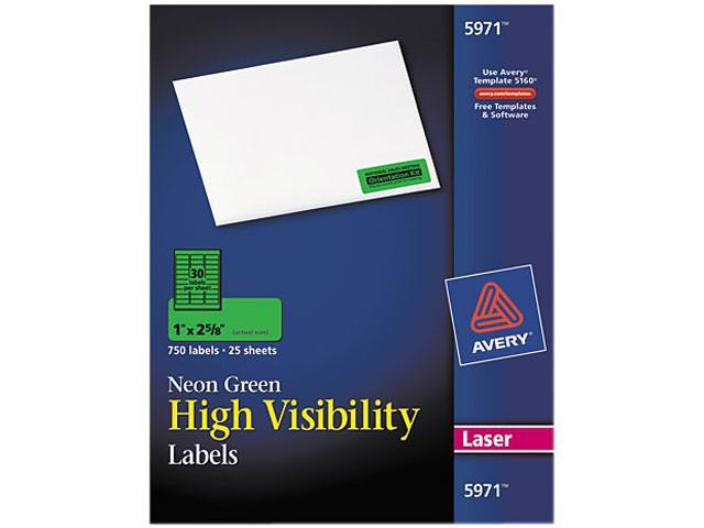 Avery 5971 High-Visibility Laser Labels, 1 x 2-5/8, Neon Green, 750/Pack