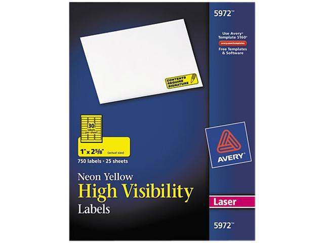 Avery 5972 High-Visibility Laser Labels, 1 x 2-5/8, Neon Yellow, 750/Pack