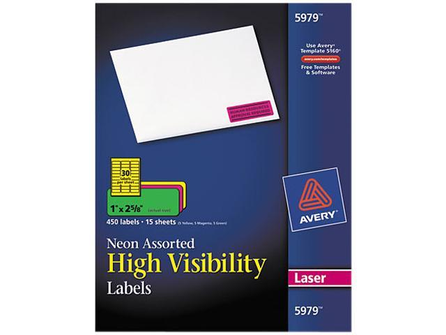Avery 5979 High-Visibility Laser Labels, 1 x 2-5/8, Assorted Neons, 450/Pack