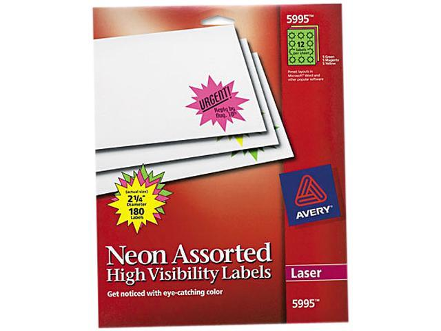 Avery 5995 Burst Laser Labels, 2-1/4in dia, Assorted Neon Colors, 180/Pack