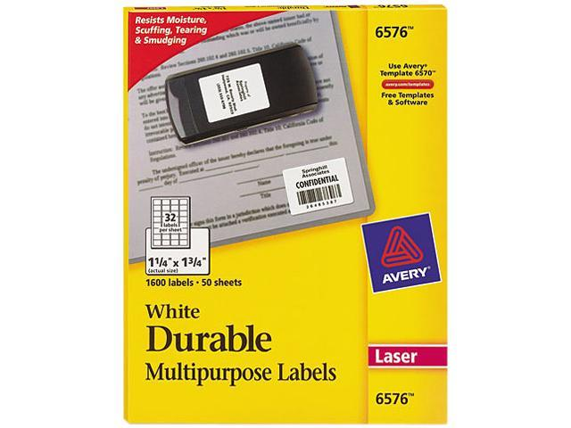 Avery 6576 Permanent ID Laser Labels, 1-1/4 x 1-3/4, White, 1600/Pack