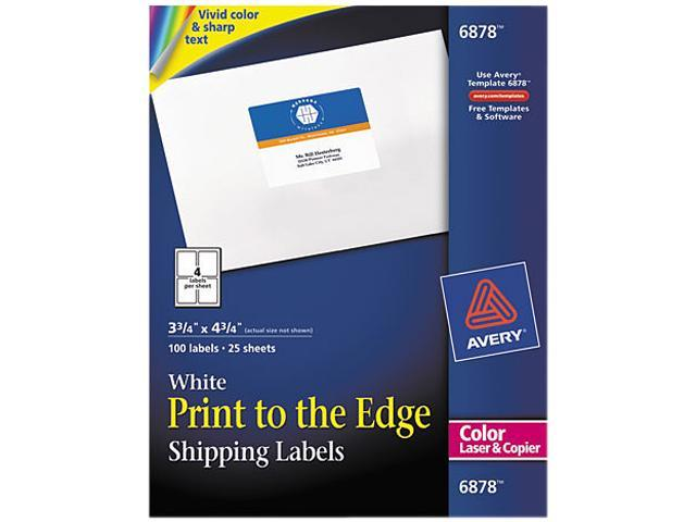 Avery 6878 Shipping Labels for Color Laser & Copier, 3-3/4 x 4-3/4, Matte White, 100/Pack