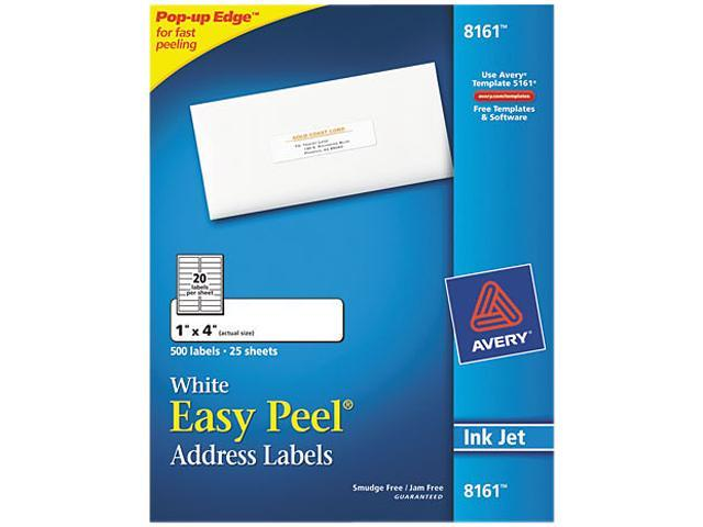 Avery 8161 Easy Peel Inkjet Address Labels, 1 x 4, White, 500/Pack