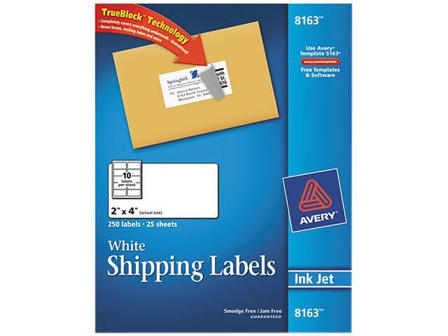 Shipping Labels w/Ultrahold Ad & Block Inkjet 2 x 4 White 250/Pack