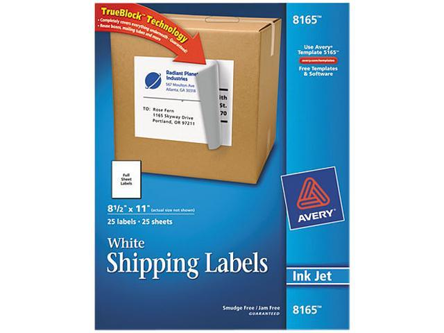 Avery 8165 Shipping Labels with TrueBlock Technology, 8-1/2 x 11, White, 25/Pack