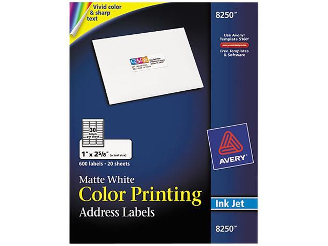 Avery 8250 Inkjet Labels for Color Printing, 1 x 2-5/8, Matte White, 600/Pack