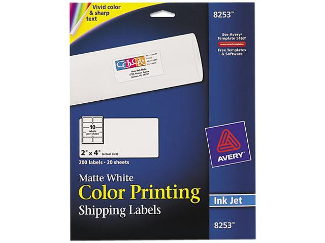 Avery 8253 Inkjet Labels for Color Printing, 2 x 4, Matte White, 200/Pack