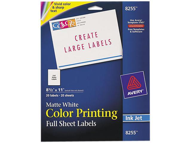 Avery 8255 Inkjet Labels for Color Printing, 8-1/2 x 11, Matte White, 20/Pack
