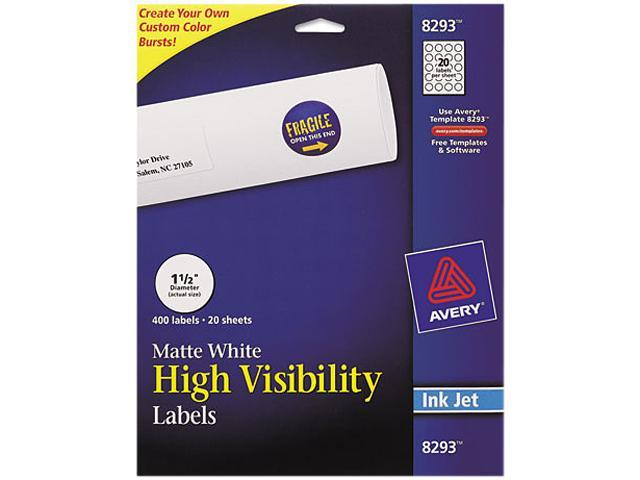 Color Printing Mailing Labels 1 1/2 dia White 400/Pack