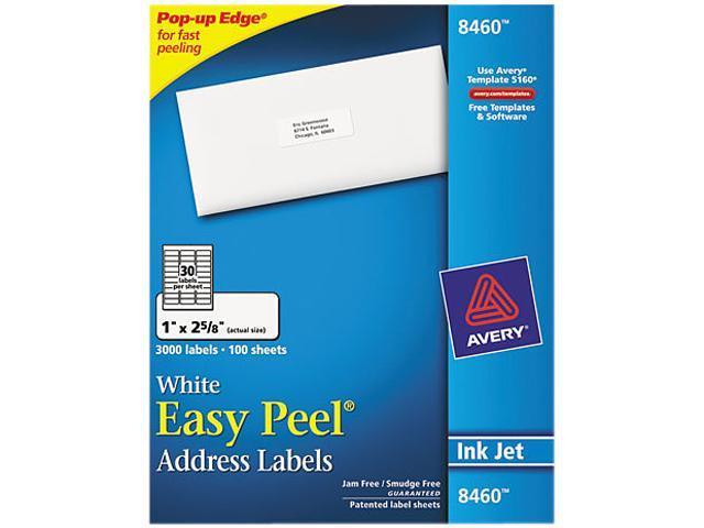 Avery 8460 Easy Peel Inkjet Address Labels, 1 x 2-5/8, White, 3000/Box