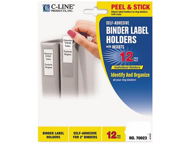 C-line 70023 Self-Adhesive Ring Binder Label Holders, Top Load, 1-3/4 x 2-3/4, Clear, 12/Pack