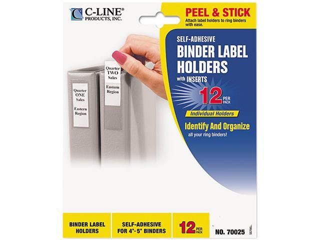C-line 70025 Self-Adhesive Ring Binder Label Holders, Top Load, 1-3/4 x 3-1/4, Clear, 12/Pack