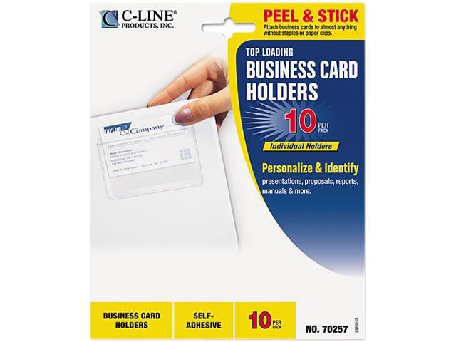 C-line 70257 Self-Adhesive Business Card Holders, Top Load, 3-1/2 x 2, Clear, 10/Pack