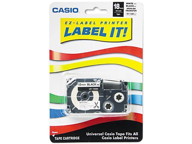 Casio XR118BKS Label Printer Iron-On Transfer Tape, 18mm, Black on White