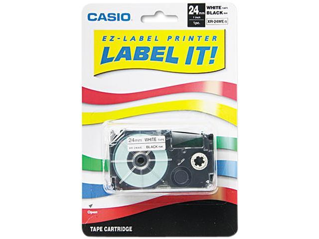 Casio XR24WE Tape Cassette for KL8000/KL8100/KL8200 Label Makers, 24mm x 26ft, Black on White