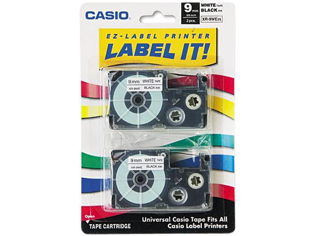 Casio XR9WE2S Tape Cassettes for KL Label Makers, 9mm x 26ft, Black on White, 2/Pack