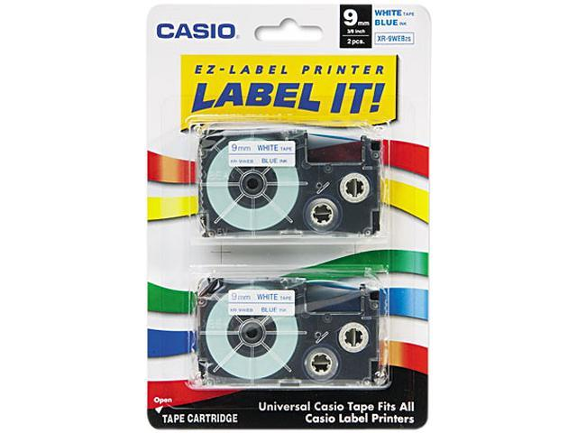 Casio XR9WEB2S Tape Cassettes for KL Label Makers, 9mm x 26ft, Blue on White, 2/Pack
