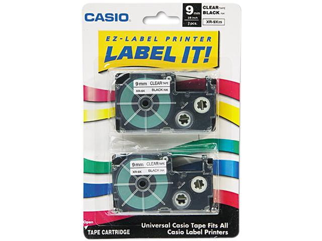 Casio XR9X2S Tape Cassettes for KL Label Makers, 9mm x 26ft, Black on Clear, 2/Pack