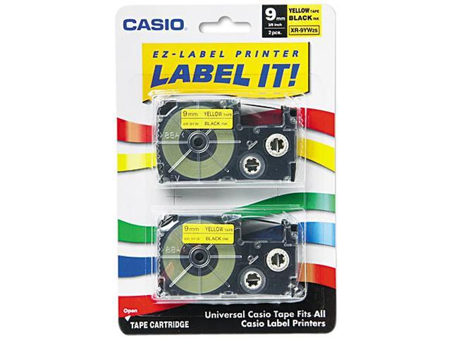 Casio XR9YW2S Tape Cassettes for KL Label Makers, 9mm x 26ft, Black on Yellow, 2/Pack