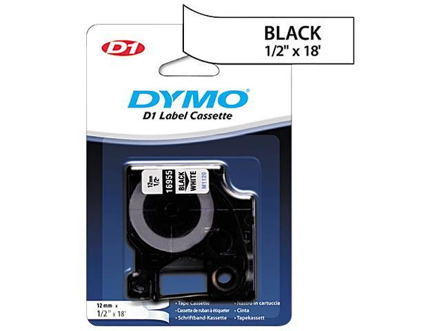DYMO 16955 D1 Permanent High-Performance Polyester Label Tape, 1/2in x 18ft, Black on White