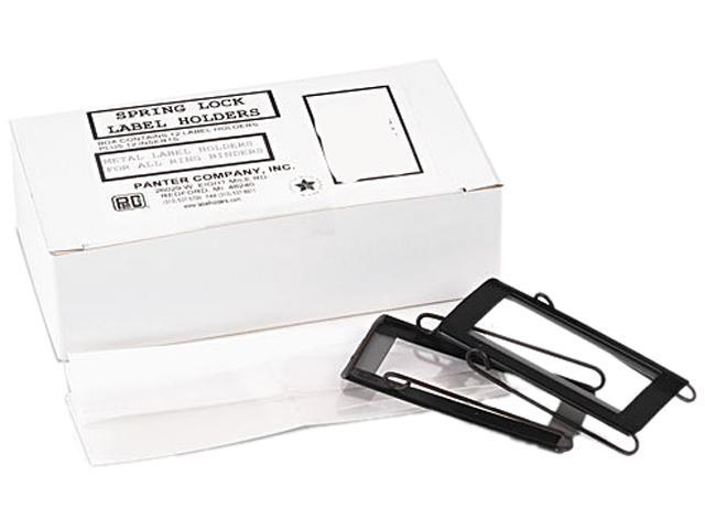 Panter Company SL-1 Spring-Lock Metal Label Holders, Top Load, 1 x 2-3/4, Black/Clear, 12/Pack