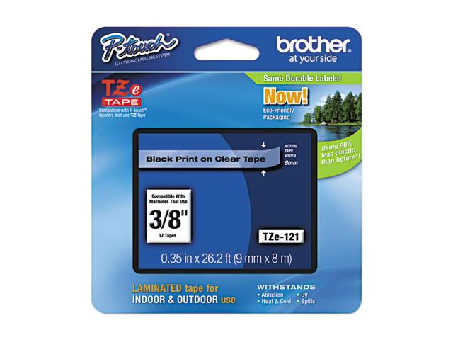 Brother TZE121 TZe Standard Adhesive Laminated Labeling Tape, 3/8w, Black on Clear