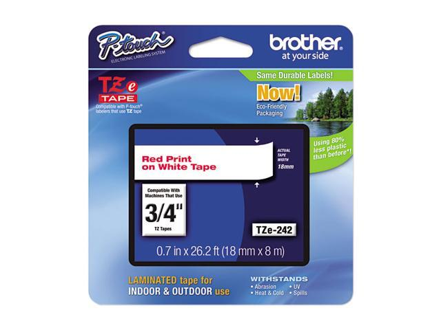 Brother TZE242 TZe Standard Adhesive Laminated Labeling Tape, 3/4w, Red on White