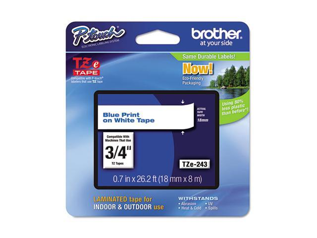 Brother TZE243 TZe Standard Adhesive Laminated Labeling Tape, 3/4w, Blue on White