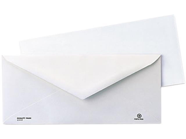 Quality Park 11117B Business Envelope, Contemporary, #10, White, Recycled, 1000/Box