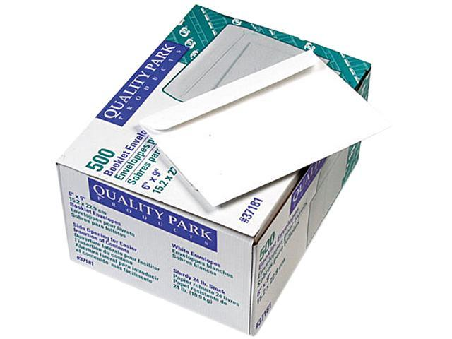 Quality Park 37181 Open Side Booklet Envelope, Contemporary, 9 x 6, White, 500/Box