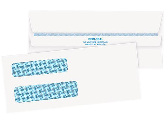 Quality Park 24539 Double Window Tinted Redi-Seal Invoice & Check Envelope, #8, White, 500/Box