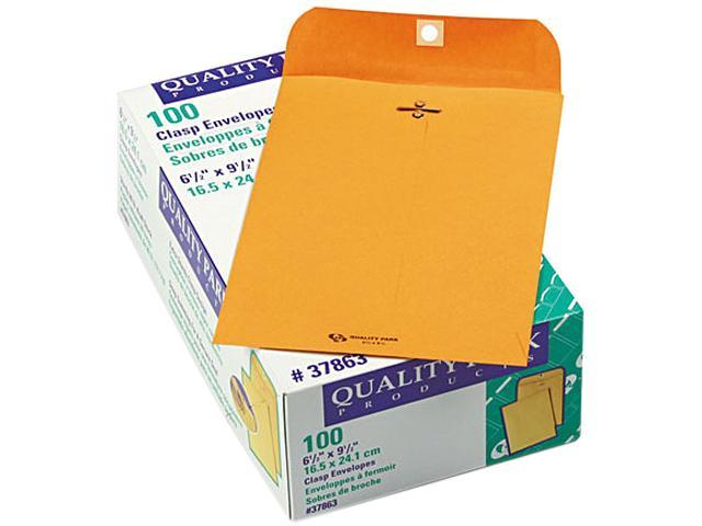 Quality Park 37863 Clasp Envelope, 6 1/2 x 9 1/2, 28lb, Light Brown, 100/Box