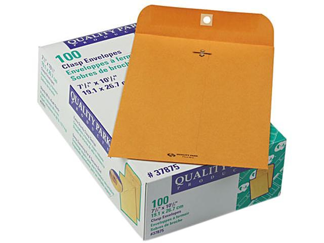 Quality Park 37875 Clasp Envelope, 7 1/2 x 10 1/2, 28lb, Light Brown, 100/Box