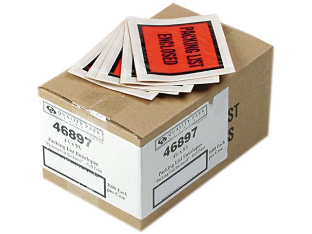 Quality Park 46897 Full-Print Self-Adhesive Packing List Envelope, Orange, 5 1/2 x 4 1/2, 1000/Box