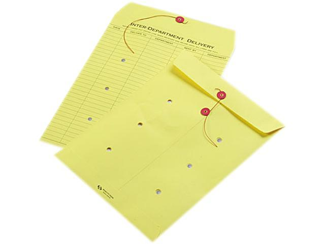 Quality Park 63576 Colored Paper String & Button Interoffice Envelope, 10 x 13, Yellow, 100/Box