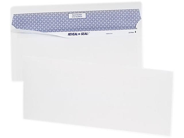 Quality Park 67012 Reveal-N-Seal Business Envelope, Contemporary, #10, White, 40/Box