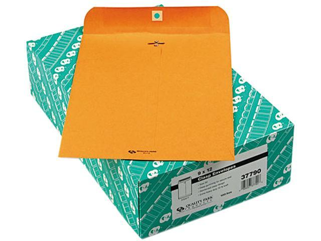 Quality Park 37790 Clasp Envelope, 9 x 12, 32lb, Light Brown, 100/Box