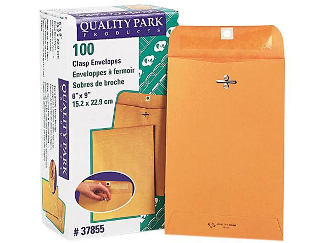 Quality Park 37855 Clasp Envelope, 6 x 9, 28lb, Light Brown, 100/Box