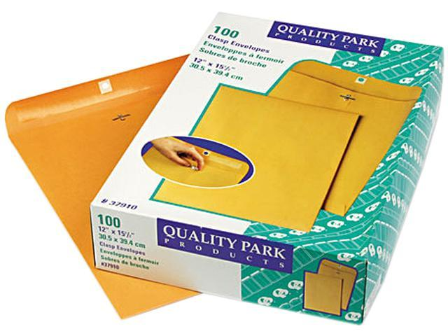 Quality Park 37910 Clasp Envelope, 12 x 15 1/2, 28lb, Light Brown, 100/Box