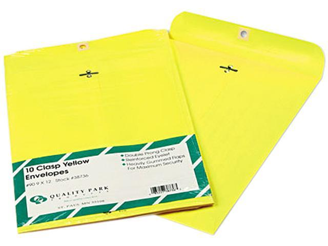 Quality Park 38736 Fashion Color Clasp Envelope, 9 x 12, 28lb, Yellow, 10/Pack