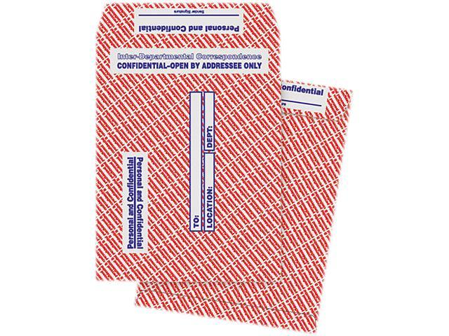 Quality Park 63778 Gray/Red Paper Gummed Flap Confidential Interoffice Envelope, 10 x 13, 100/Box