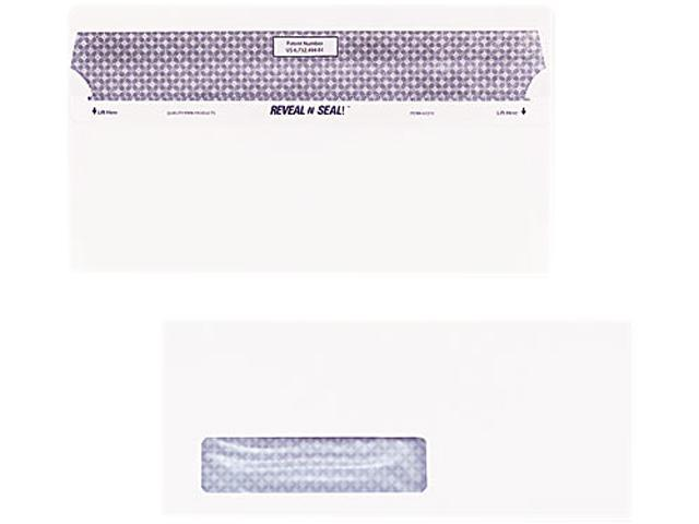 Quality Park 67418 Reveal-N-Seal Window Envelope, Contemporary, #10, White, 500/Box