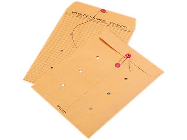 Quality Park 63563 Light Brown Kraft String & Button Interoffice Envelope, 10 x 13, 100/Carton