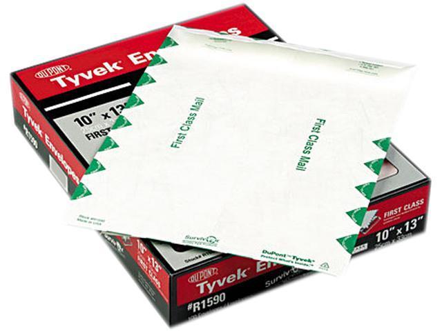SURVIVOR R1590 Tyvek USPS First Class Mailer, Side Seam, 10 x 13, White, 100/Box, 1 Box