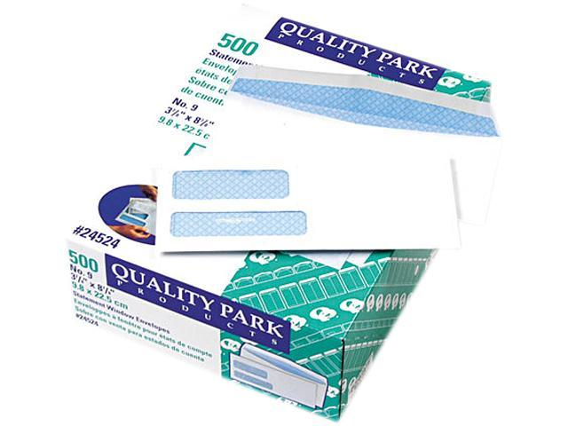 Quality Park 24524 Double Window Security Tinted Invoice & Check Envelope, #9, White, 500/Box