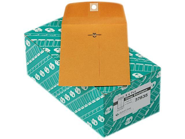 Quality Park 37835 Clasp Envelope, 5 x 7 1/2, 28lb, Light Brown, 100/Box